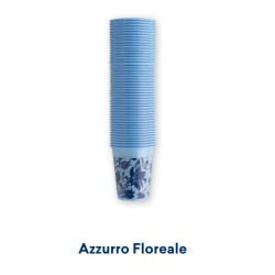 PLASTIC CUPS 100PCS - FLOWER BLUE
