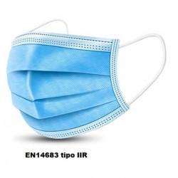 mascherine chirurgiche 3 strati TYPE IIR 99% BFE con elastici 50pz.